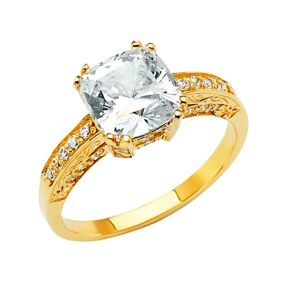 14k Yellow Gold Cushion Cut Cz Engagement Ring Boutique